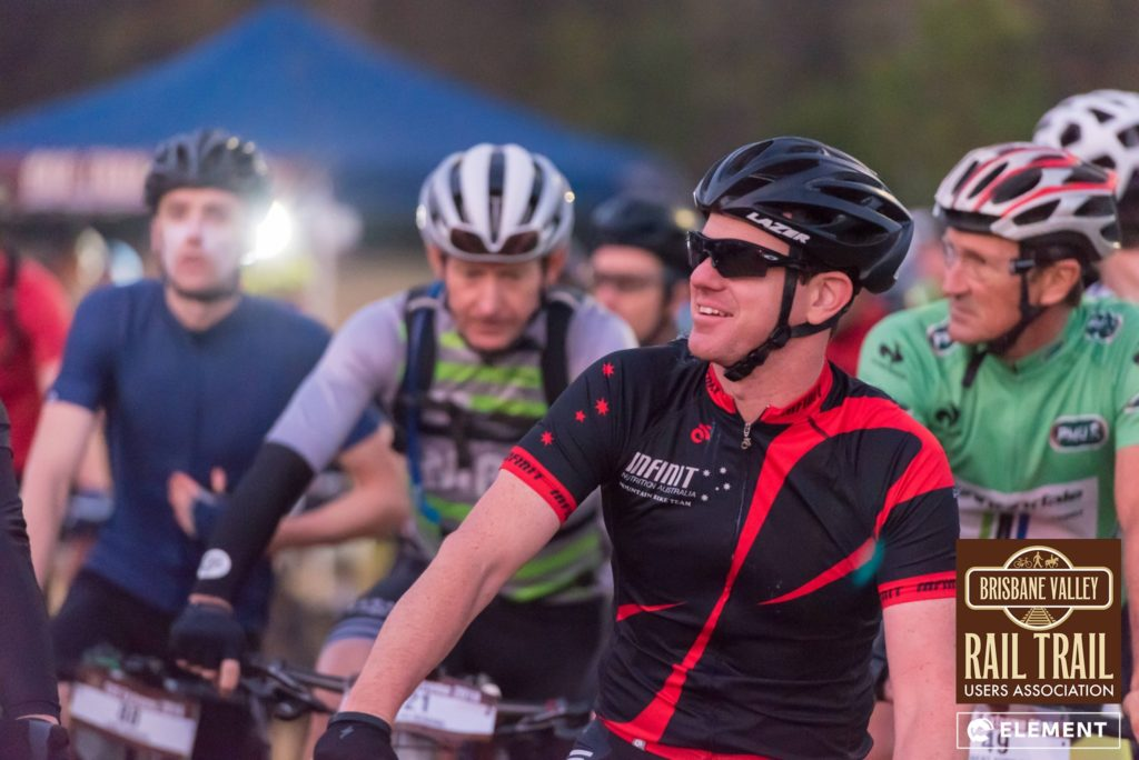 Competitors line up at the start line of the Brisbane Valley Rail Trail