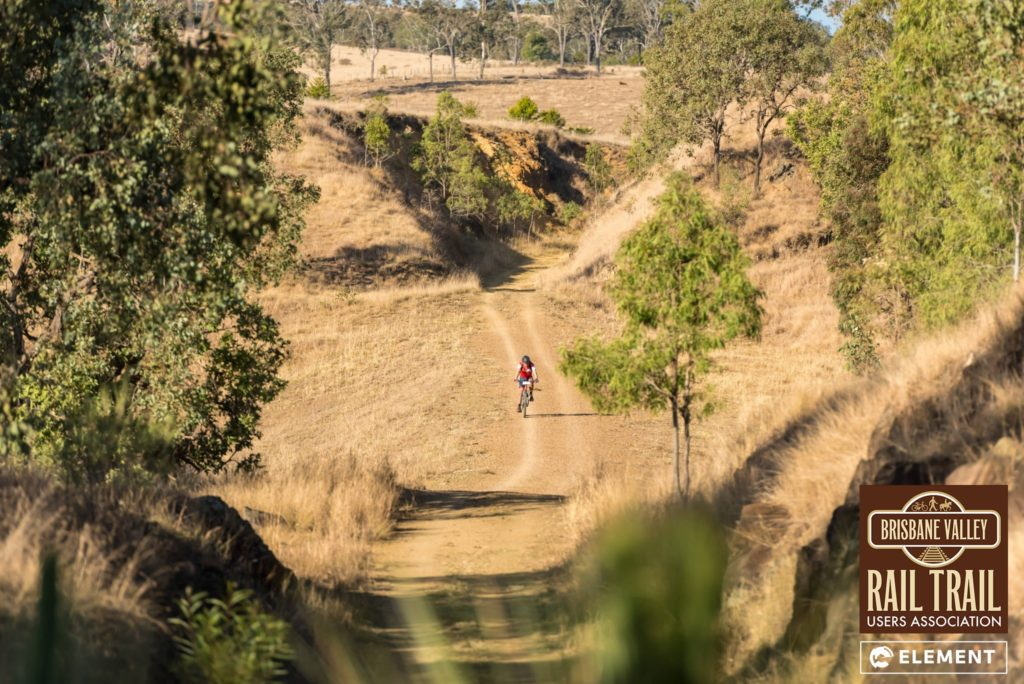Competitors ride through the scenic Brisbane Valley Rail Trail.