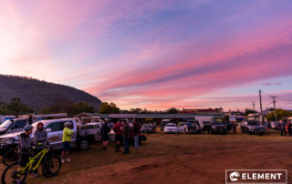 A colourful sunrise as riders gather for an event.