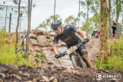 A competitor tackles the challenging Underwood Park trails.