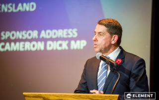 MP Cameron Dick making a speech at the awards.