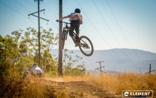A rider hits a jump on the Toowoomba trails.