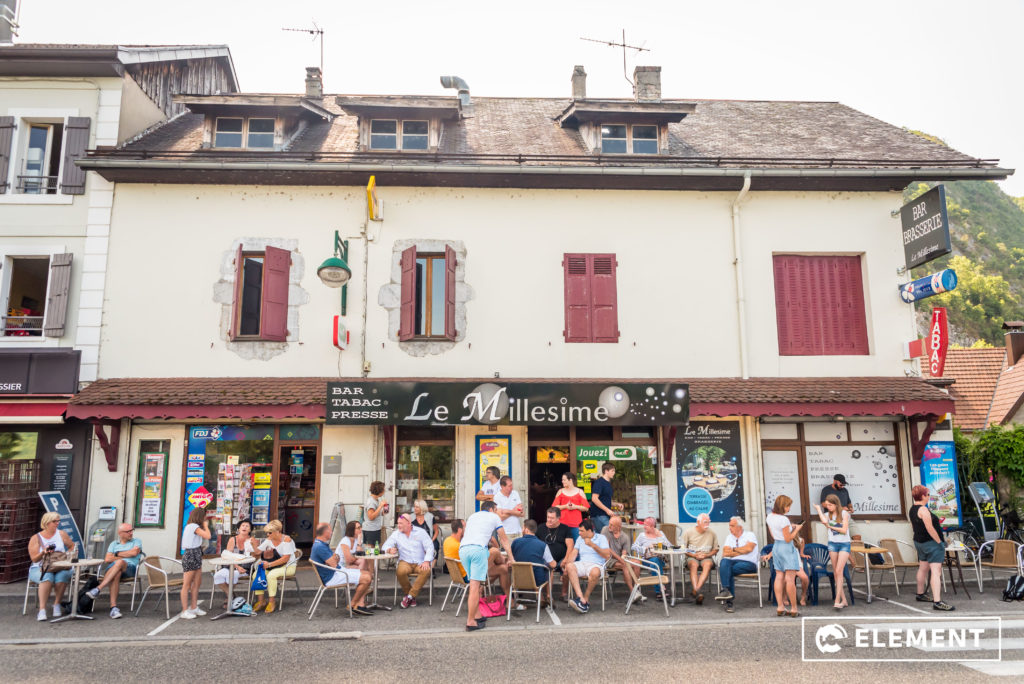 Spectators crowded the village bar for a seat to watch the Tour.