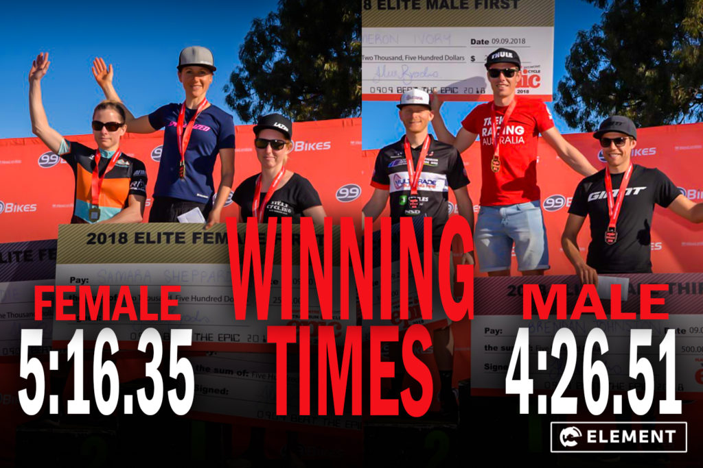 The male and female winners of the Flight Centre Cycle and Trail Run Epic 2018.